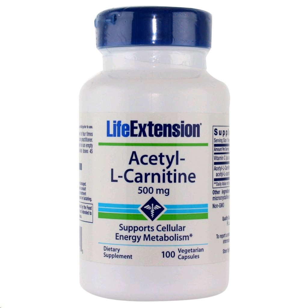 LIFE EXTENSION ACETYL-L-CARNITINE 500MG 100 CAPSULES