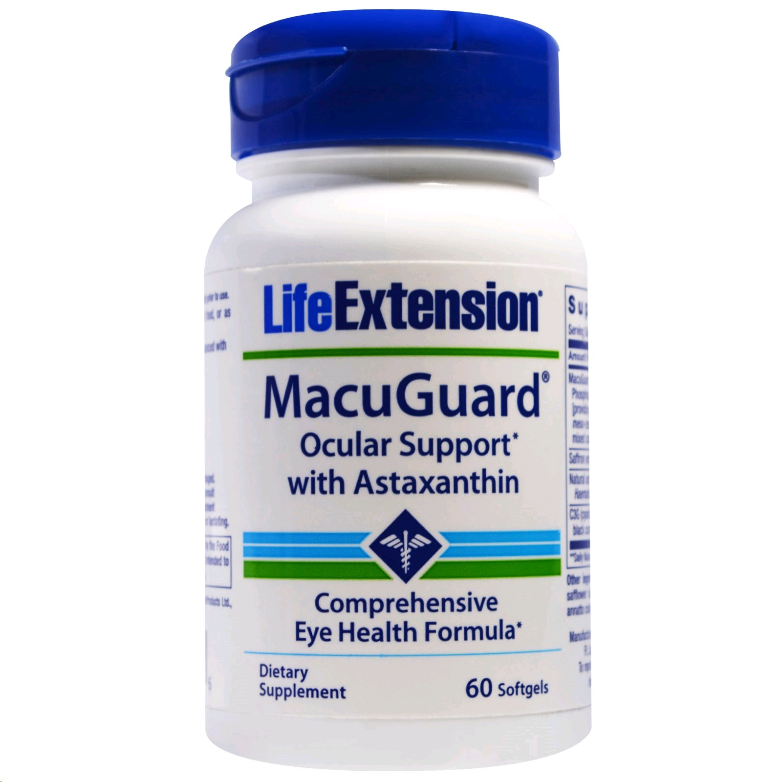 LIFE EXTENSION MACUGUARD OCULAR SUPPORT AMB  ASTAXANTHIN 60 CAPSULES